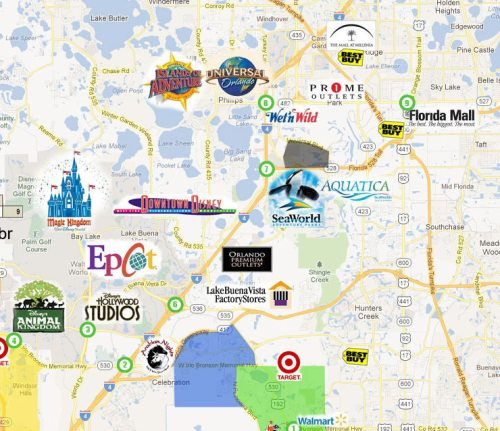 Mapa de Orlando marcado com os parques, outlets e  shoppings...
